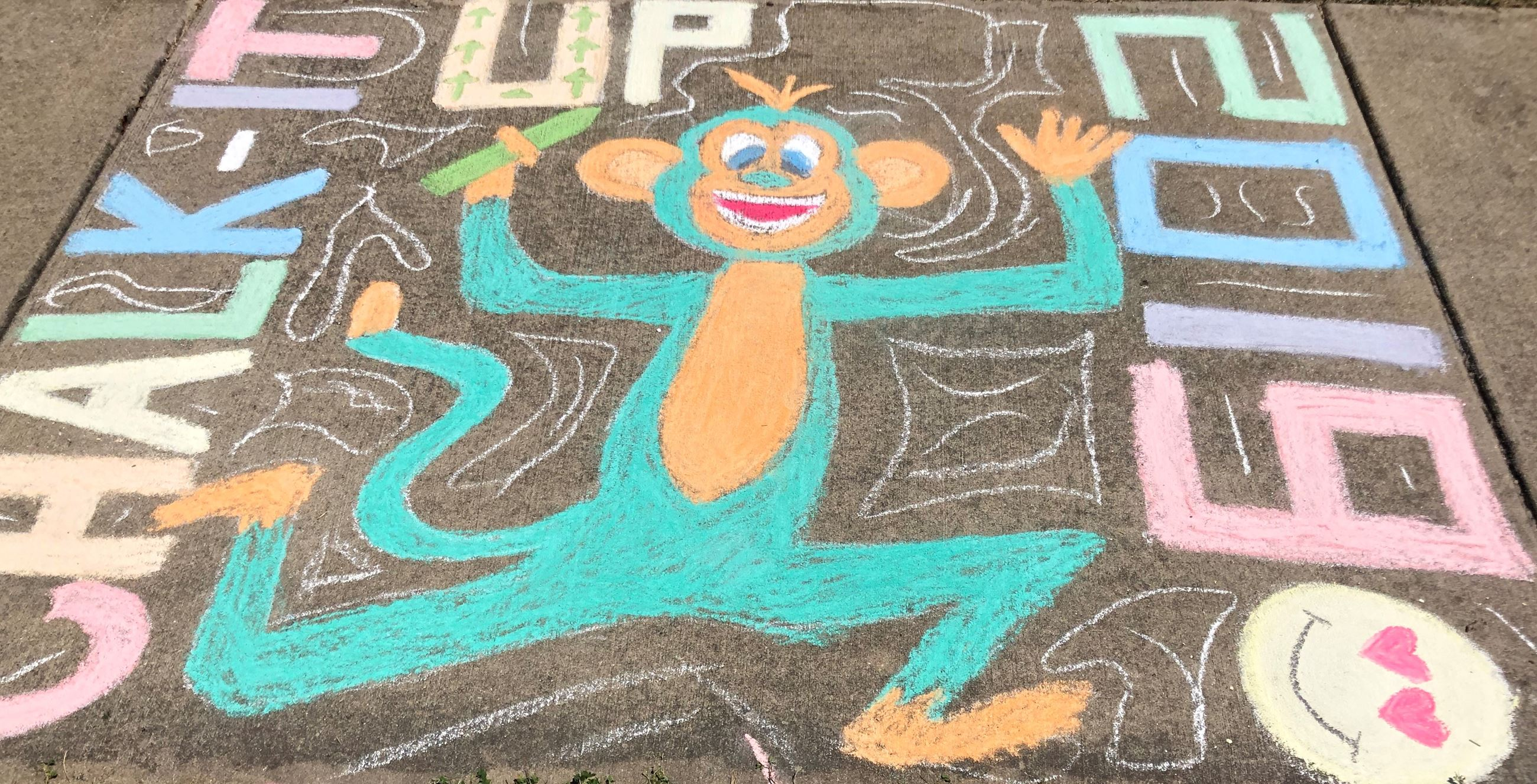 Chalk square monkey